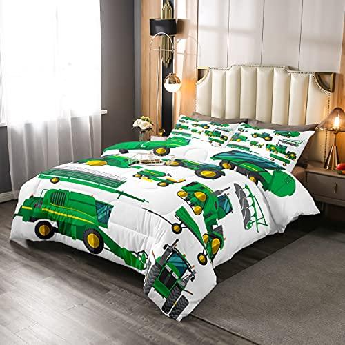 Erosebridal Ausstattung LKW Tröster Set, Bagger Daunendecke Queen, grünes Fahrzeug gesteppte Bettdecke für Kinder Kinder Jungen Teens Bau Traktor Schmusetuch Set für Schlafzimmer Dekor