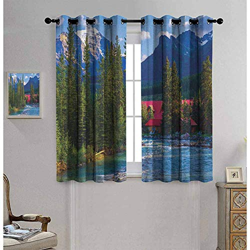 Nature Room darkened insulation grommet curtain Pipestone River Rushes Past Log Lake Louise Village Banff National Park living room W52 x L54 Inch Forest Gren Turquoise