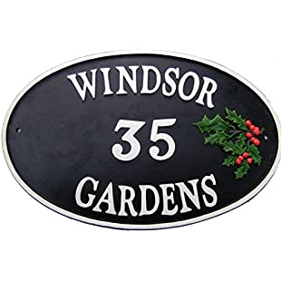 Customer reviews Hand Painted Cast Iron Oval Rustic Traditional House Name Sign - Holly:Comoparardefumar