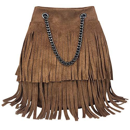Parubi, Bolso de mujer / cubo de hombro y bandolera, de piel auténtica, fabricado en Italia, modelo Nives, bolso pequeño con cadena y flecos, bolso de mujer y niña elegante, marrón (Marrón) - PRB1010