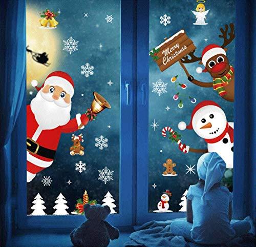 DURINM Navidad Pegatina Feliz Navidad Papá Noel Muñeco de Nieve Alce de la Puerta Decoración de la Ventana Reutilizable Bricolaje Pegatinas ✅