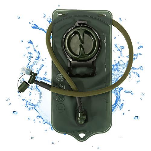 Mogokoyo 2L Trinkblase mit Beissventil BPA-frei Trinkbeutel Antibakteriell und Auslaufsicher Trinksystem für Trinkrucksack, Outdoor, Radfahren, Wandern, Camping (Armeegrün- 2 L)