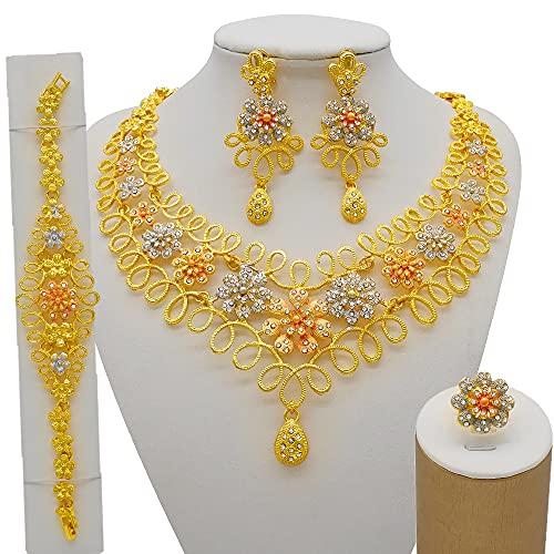 QXZ-WOLFBERRY Nigeria Dubai 24k Oro Flores Finas Joyas Conjuntos de Joyas de Novia Africano Fiesta de Regalo de Boda para Mujer Pulsera Collar Pendientes Anillo SE (Metal Color : BJ907-2)
