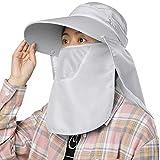 ガーデニング 帽子 サンバイザー UVカット ひよけ つば広 ハット 農作業 紫外線対策 フェイスカバー 折りたたみ