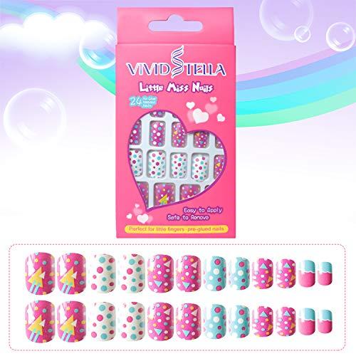 Uñas Postizas Niña Pegamento Uñas Postizas Pintadas Para Decoración de Color Uñas Kit de Uñas Falsas 24 Piezas Navidad