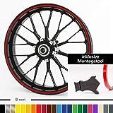 Motoking Felgenrandaufkleber mit Montagetool für Ihr Motorrad / 6 mm / für 10' bis 25' / Farbe...