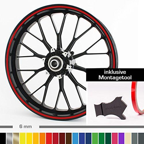 """Motoking Felgenrandaufkleber mit Montagetool für Ihr Motorrad / 6 mm/für 10\"""" bis 25\"""" / Farbe wählbar - Rot glänzend"""