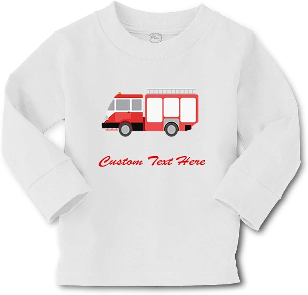 Kids Long Sleeve T Shirt Fire Car Auto Style B Fireman Firetruck Trucks Cotton