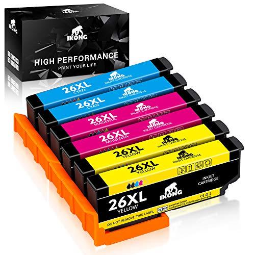 IKONG Compatible Epson 26 26XL Cartuchos de Tinta, Reemplazo para Epson expresión Premium XP-510 XP-520 XP-600 XP-605 XP-610 XP-615 XP-620 XP-625 XP-700 XP-710 XP-720 XP-800 XP-810 XP-820 Impresora