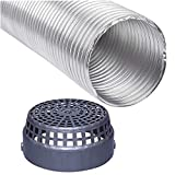 6 Inch Flexible Aluminium Duct Pipe Chimney Exhaust Pipe with Cowl Cover (Upto 6 feet Extended) Silver