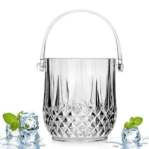 FTC Ice Bucket Secchiello per Ghiaccio in Cristallo Acrilico Secchiello per Ghiaccio Trasparente in plastica Trasparente