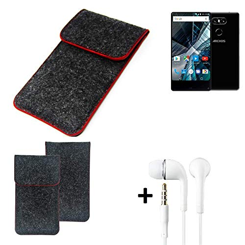 K-S-Trade Handy Schutz Hülle Für Archos Sense 55 S Schutzhülle Handyhülle Filztasche Pouch Tasche Hülle Sleeve Filzhülle Dunkelgrau Roter Rand + Kopfhörer