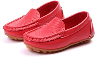 2018 Men's Slipper Flat Boys Casual PU Leather Penny Driving Loafer Girls Bare Vamp Moccasins Kids Boat Shoes, PU Leather, Red, 10 UK Child (Color : As Shown, Size : One Size)