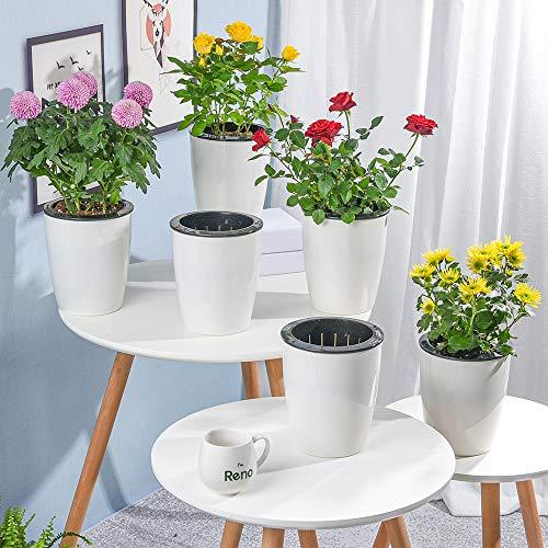 Sungmor Set de 6 macetas de flores blancas de 11cm de plástico autorretrantes | Maceta de vivero al aire libre de interior | Contenedor de maceta de almacenamiento de agua creativa