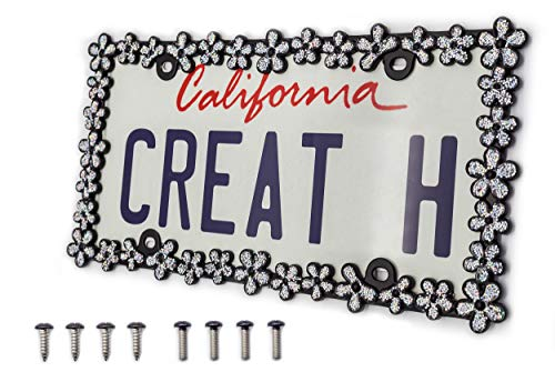 creathome 3D Shining Daisy Wrenth License Plate Frame from Pure Zinc Alloy Metal Perfect Plate Holder,Matt Black with Silver Glitter