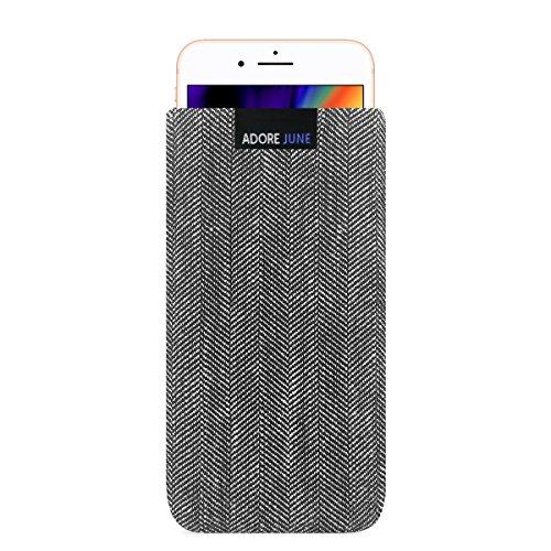 Adore June Business Tasche für Apple iPhone 8 Handytasche aus charakteristischem Fischgrat Stoff - Grau/Schwarz   Schutztasche Zubehör mit Bildschirm Reinigungs-Effekt   Made in Europe