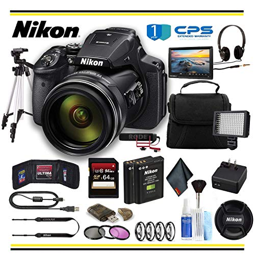 Nikon COOLPIX P900 Digital Camera (26499) Professional Bundle W/Bag, Extra Battery, LED Light, Mic, Filters, Tripod, Monitor and More