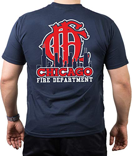 T-Shirt Chicago FIRE DEPT mit Skyline und CFD-Emblem - Feuerwehr von Chicago
