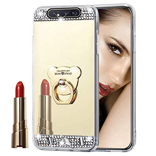 Glitzer Spiegel Hülle für Galaxy A80/A90 Gold, Misstars Bling Diamant Strass Überzug TPU Silikon Handyhülle Ultradünn Kratzfest Schutzhülle mit Bär Ring Ständer für Samsung Galaxy A80/A90