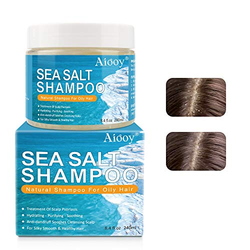 Psoriasis Shampoo, Antischuppenshampoo, Meersalz-Haarbehandlungsshampoo, Meersalzshampoo, Juckende Kopfhautbehandlungsshampoo gegen Schuppenflechte, Juckende Kopfhautentlastung -240 ml