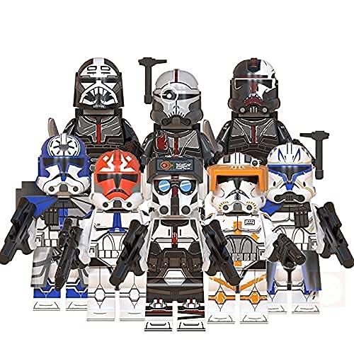 xinyan Star Space Wars Clone Force 99 Wrecker Crosshair Hunter Tech Bad Batch Rex Action-Figuren Minifigur Bausteine Geschenk für Kinder Schwarz