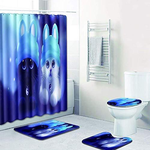 GWFVA 4-delige douchegordijnset met wasbare en zachte toiletbril + badmat + antislipmat + badkamermat
