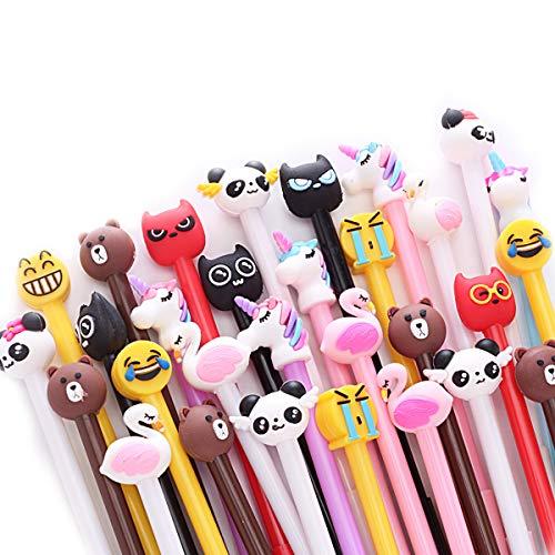 Yuechen 30x Bolígrafo de tinta de gel Cute dibujos animados para estudiante niños regalo detalles Invitaciones cumpleanos Infantil escuela papelería y suministros de oficina