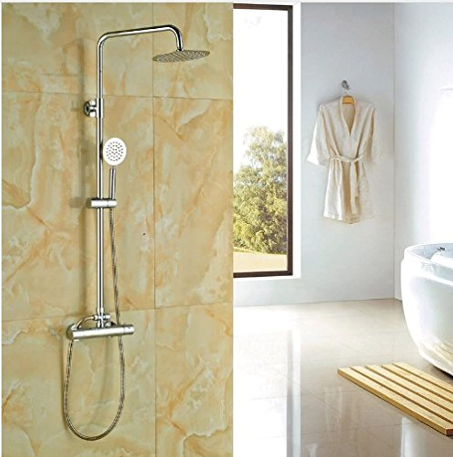 Gowe? Bath Rainfall Shower Set Chrome Polish Thermostatic Shower Faucet With Hand Shower Wall Mounted