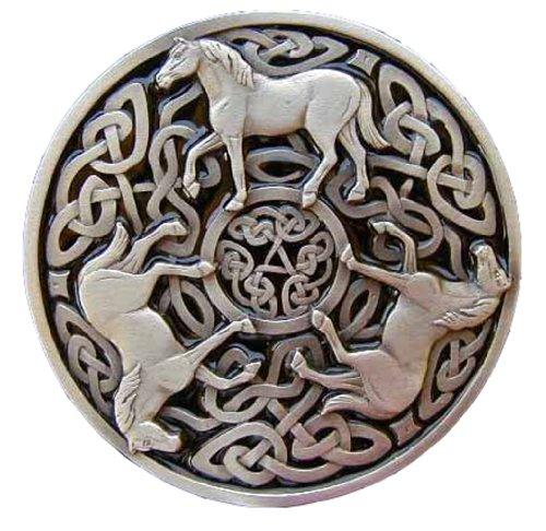 Celtic Knot Horses Pewter Colored Novelty Belt Buckle