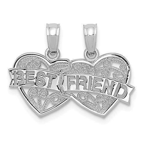 10k White Gold Best Friends Bestfriend Friendship 2 Piece Break A Part Pendant Charm Necklace Talking Break?apart Fine Jewelry For Women Gifts For Her