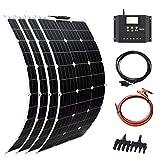 XINPUGUANG 400w Kit solar 4pcs 100W 18v Panel solar flexible Módulo mono Kit 40A Controlador solar para barco, automóvil, caravana, carga de batería de 12v (400)