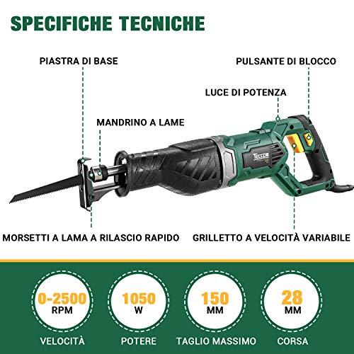 Sega a Gattuccio 1050W, TECCPO Sega Universale Professionale, Velocità 0-2500SPM, Profondità di Taglio: 150mm (Legno), 5mm (Metallo), Corsa di Taglio 28 mm, 3 Lame -TARS24P