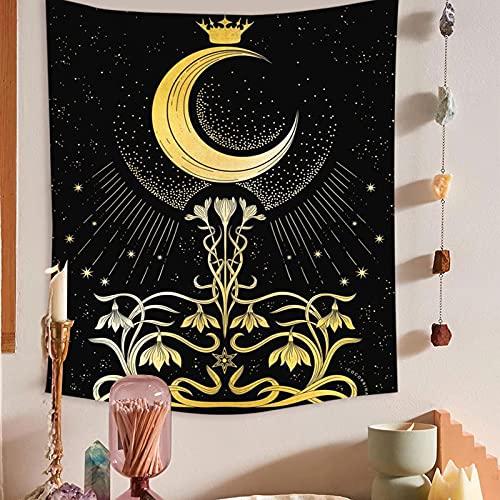 Tapiz de cielo estrellado de luna psicodélica, tapiz de pared para niña, tapiz de cielo para artista, tapiz de decoración del hogar A16, 180x230cm