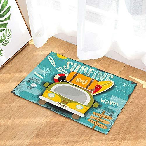 rrrrrr Mini Furgoneta con Tablas de Surf y Maleta Cortina de baño Tela 60 * 40CM