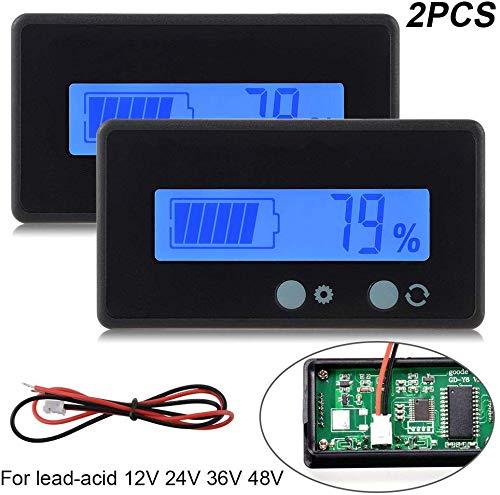 2 stück LCD Batterie kapazität Monitor Gauge Meter, wasserdicht 12v / 24v Lithium Batterie kapazität Tester Spannung Meter Monitor blau hintergrundbeleuchtung für Fahrzeug Batterie