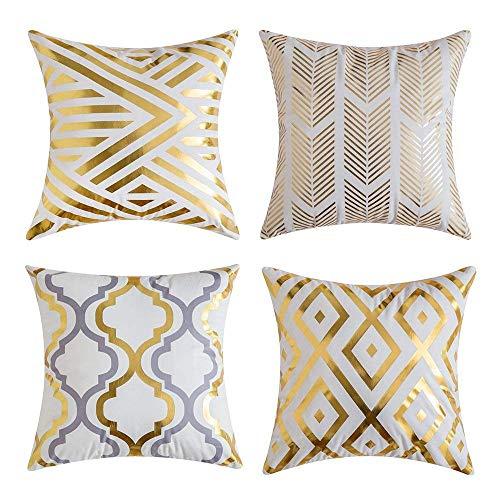 Gspirit 4 Pack Cojines Sofas Estampado de Oro Suave Decoracion Funda Cojines 45x45