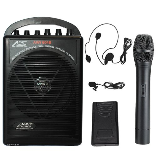 audio 2000s wireless headsets Audio2000s Wp-604b/hl Battery Powered Dual Channel Wireless Microphone Portable Pa System