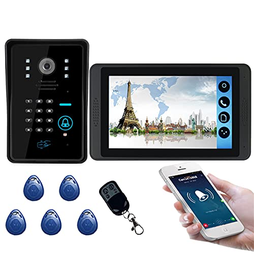 Timbre de video Wifi, intercomunicador, kit de videoportero, cámara de visión nocturna + monitor de 7 pulgadas, desbloqueo de controles remotos de la APP de contraseña ID Card