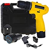 MLD Cordless Screwdriver Drill Machine (10 mm Left/Right, 12v with 2 Batteries) 2 speed Variable Speed & Torque Setting (24+1) wireless drill for multi use (10mm/12v/1350Rpm/Multicolor/Plastic)