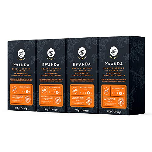 Marca Amazon - Happy Belly Select Café Molido Origin Nespresso - Rwanda - 80 Cápsulas (4 Paquetes x 20)