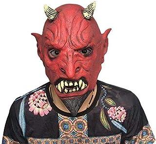Angle-Y ハロウィーンマスク、カーニバルのパーティー怖いゴーストフェイスモンスターマスクショーパーティーが怖い赤い悪魔ホーンマスクバーの小道具、自由な大きさを示し、