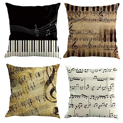 Traney Set of 4 Retro Music Note Throw Pillows Covers, Decorative Pillowcase Cushion Cover for Couch Sofa Bed Car Home Decor,18 X 18 Inches