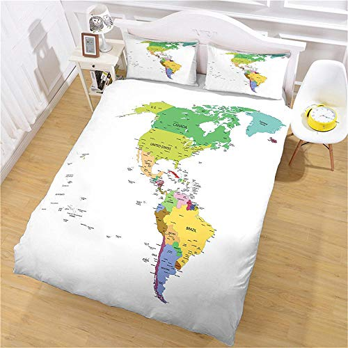 QNZOR Duvet Cover Sets Pillowcases Bedding Single map Print Polyester Breathable 2 pillowcases with Zipper Boys Girls Home Decoration 53.15 x 78.74 inch