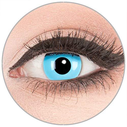 Farbige Kontaktlinsen zu Fasching Karneval Halloween in Topqualität von 'Glamlens' ohne Stärke 1 Paar Crazy Fun blaue 'Sky Angel' mit Kombilösung (60ml) + Behälter