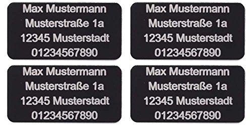 CopterFarm Drohnen Kennzeichnung Plakette Adressgravur Kennzeichen Schild Feuerfest Selbstklebend 1 - 8er Set (4X Mini 30x15mm)