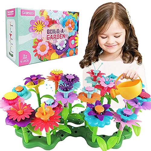 Toys for 3 4 5 6 Year Old Girls, Preschool Activities Christmas & Birthday Gifts for Toddlers and Kids Flower Garden Building Toys 51 PCS