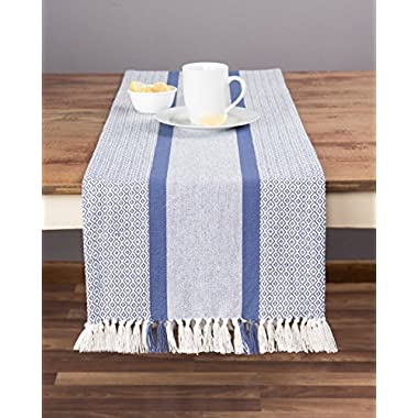 Sticky Toffee 4th of July Cotton Woven Table Runner with Fringe, Traditional Diamond, Blue, 14 in x 72 in