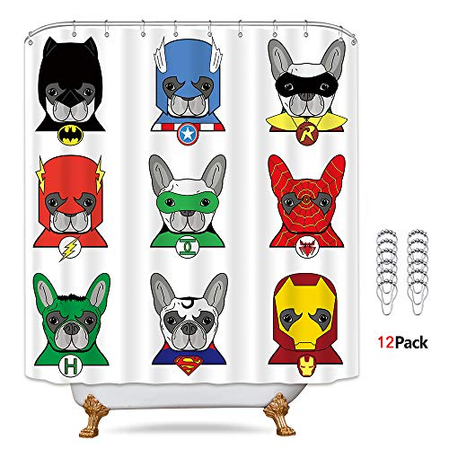 Riyidecor Superhero Shower Curtain with Metal Hooks 12 Pack Bulldog Cartoon Kids Puppies in Disguise Dogs Masks Decor Fabric Bathroom Set Polyester Waterproof 72x72 Inch