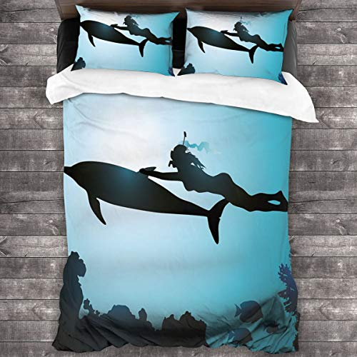 LISUMAL Funda De Edredón,Scuba Diver Girl Nadando con la Silueta de Delfines en la Imagen de los arrecifes de Peces de mar,3 Pcs Ropa de Cama Funda Nórdica Sábana Bajera (140 * 200CM)