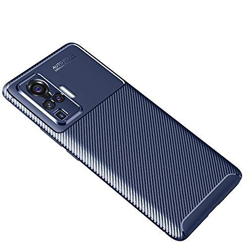 GOGME Adatta per Cover Vivo X51 5G, Design in Antiurto Morbido TPU Fibra di Carbonio Originale Elegante e Super Flessibile. Blu